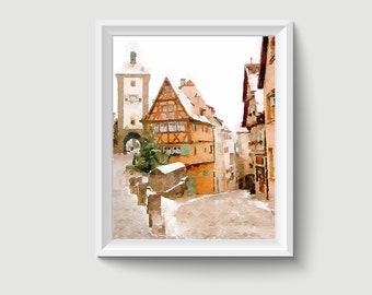 Rothenburg ob der Tauber Germany Painting Postcard Poster Art Print Q171