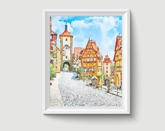 Rothenburg ob der Tauber Germany Painting Postcard Poster Art Print Q13