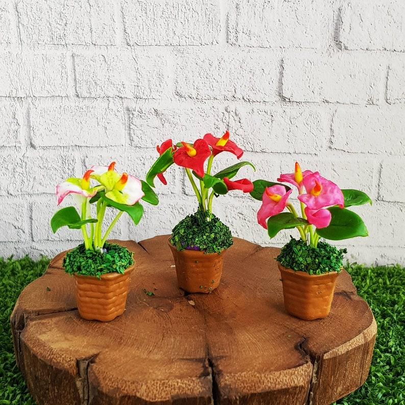 Pink Flamingo Clay Flower Ceramic Pot Dollhouse Miniature Tiny Handmade 2
