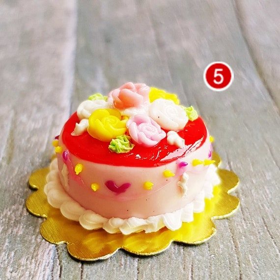 Red Rose Christmas Cake Box Dollhouse Miniature Food Sweet Bakery Barbie Decor