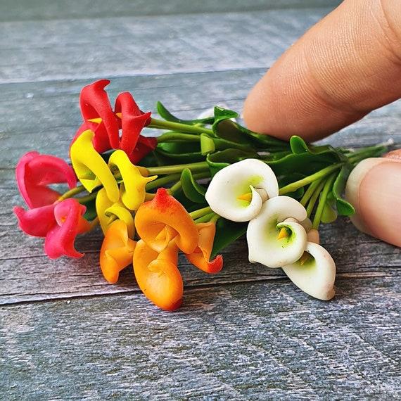 Clay Orange Heliconia Flower Miniature Handmade Plant Dollhouse Accessory