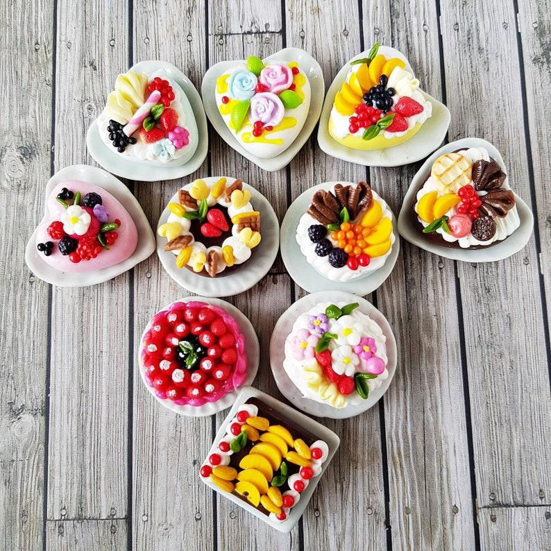 5x Mix Loose Slice Cut Fruit Cake Dollhouse Miniatures Food Bakery Barbie Supply