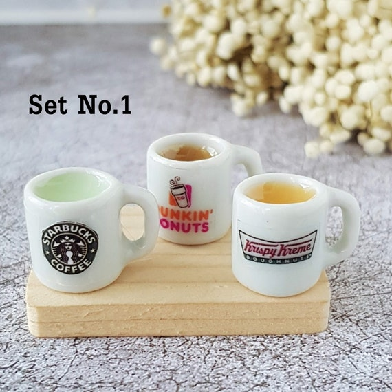 2 Milk Tea Hot Coffee Cup Dunkin Dollhouse Miniatures Drink Beverage Supply Deco