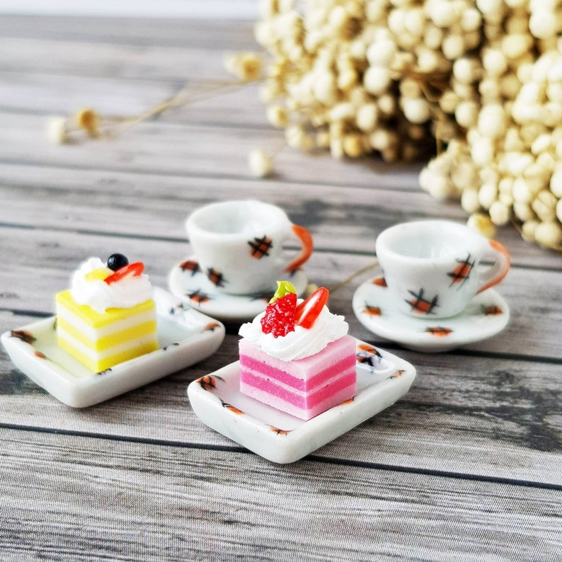 Set of Coffee and Crepe Cake Dollhouse Miniatures Food Bakery Yummy-2