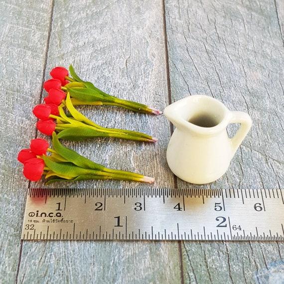 3x Yellow Red Tulip Clay Flower in Ceramic Pitcher Dollhouse Miniature Garden