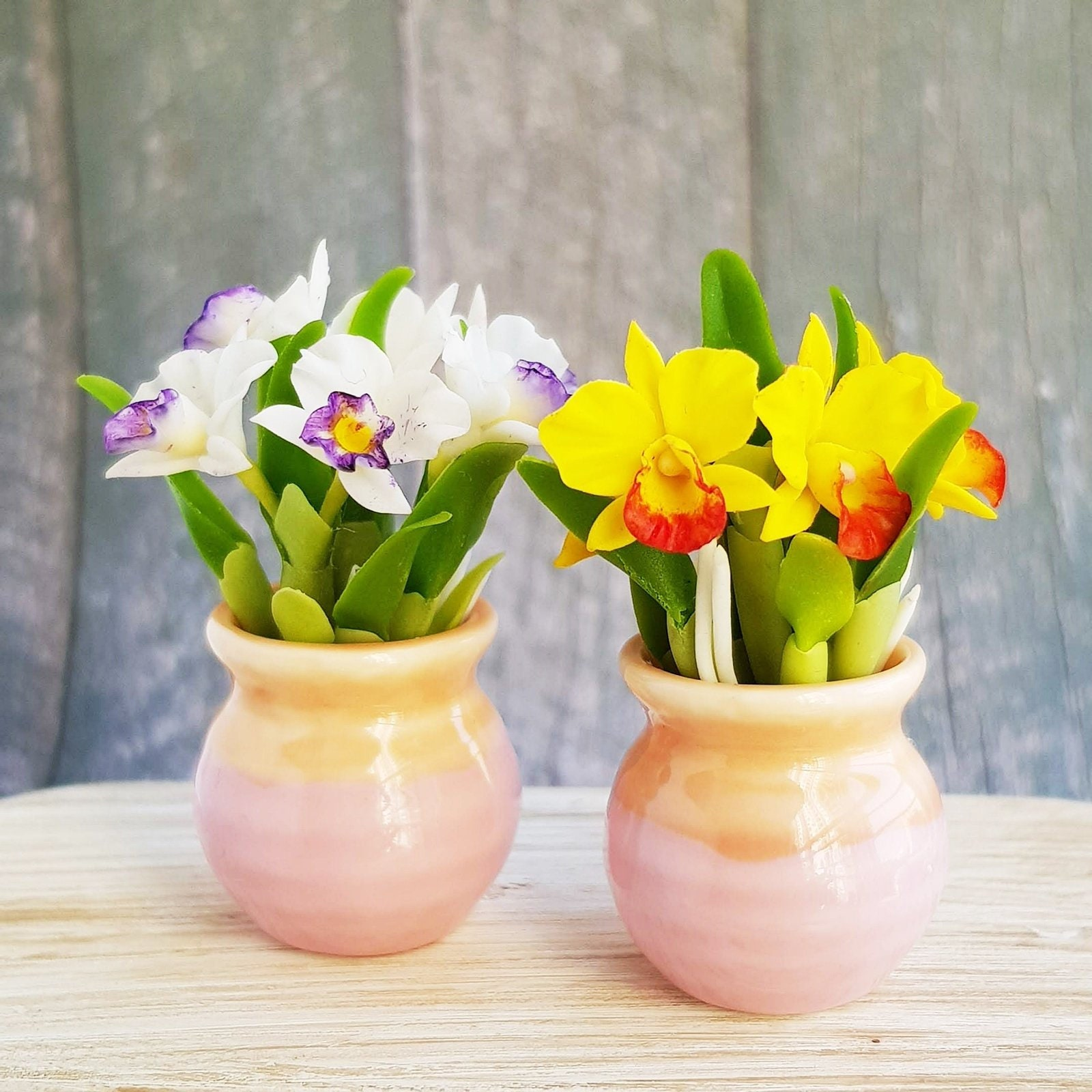 10x Morning Glories Clay Flower in Ceramic Vase Pot Dollhouse Miniature Handmade