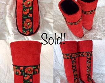 Chobukies - Women's Handmade Tall Beaded Red Boots with Ukrainian Design