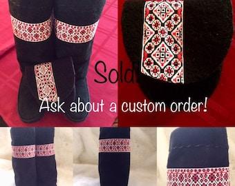 Chobukies - Women's Handmade Tall Black Boots with Ukrainian Design and Small Matching Purse