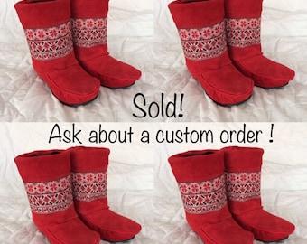 Chobukies - Classic Women's Handmade Short Red Boots with Ukrainian Design