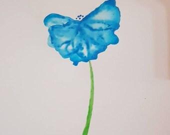 Blue flower drip painting