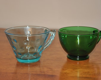 Vintage Blue And Green Coffee/Tea Glasses