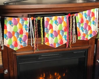 Fabric Garland Banner Easter Decorations Bunting Flag Colorful Easter Egg Banner Happy Easter Eggs Spring Banner Easter Garland Burlap Lover