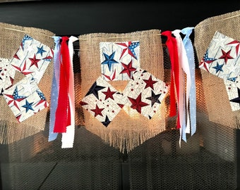 4th of July fabric  banner Red White and  Blue patriotic  garland Memorial Day burlap Stars and stripes bunting Independence Labor day flag