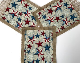 Independence day garland Memorial Day burlap  4th of July fabric banner Patriotic banner Stars and stripes bunting  Red White & Blue garland