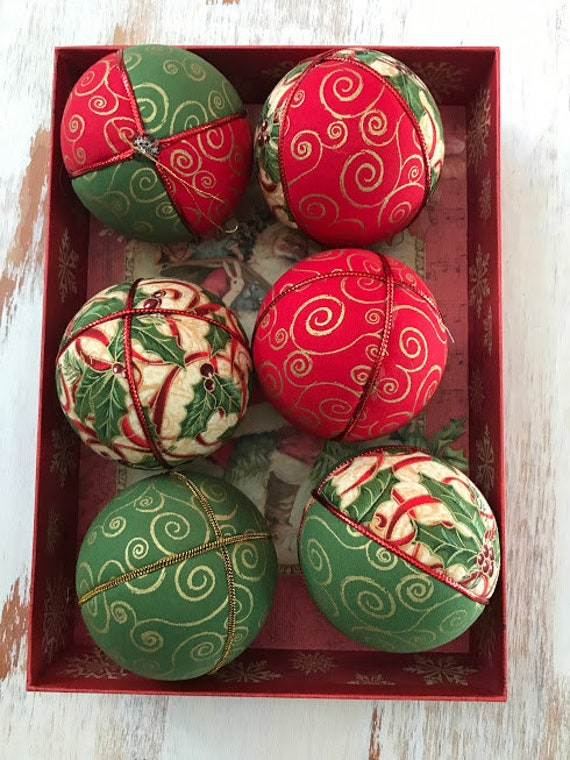 Christmas Ornaments Red Gold Green Christmas Ornament Etsy