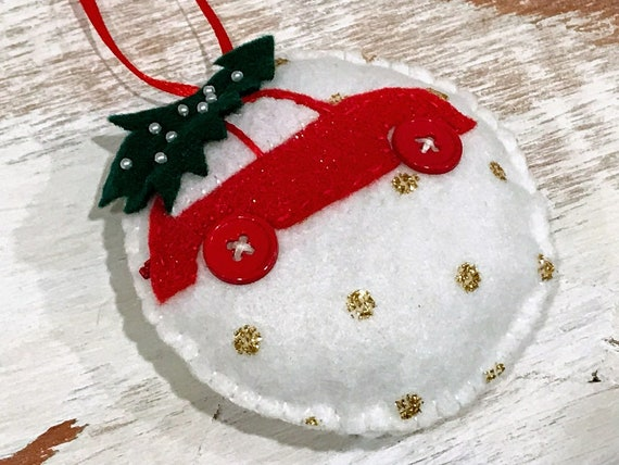 Car Christmas Ornaments.Personalized Felt Christmas Ornaments Red Car Handmade Christmas Family Gift Car With Christmas Tree Ornament White Felt Decorations