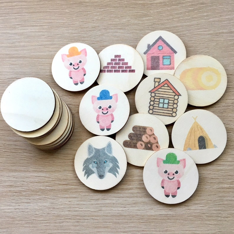 3 little pigs - memory match | my little set | wooden game | story stones |  memory match |