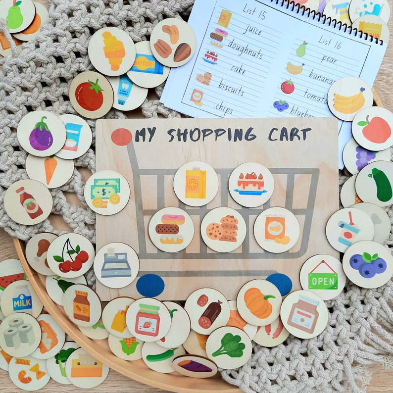 story tellers story stones my little set shopping activity board educational wooden discs MEGA PACK