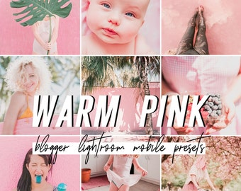 Pink Mobile Lightroom Presets / Bright Warm Mobile Presets / Blogger Preset for iPhone Android Photo Editing