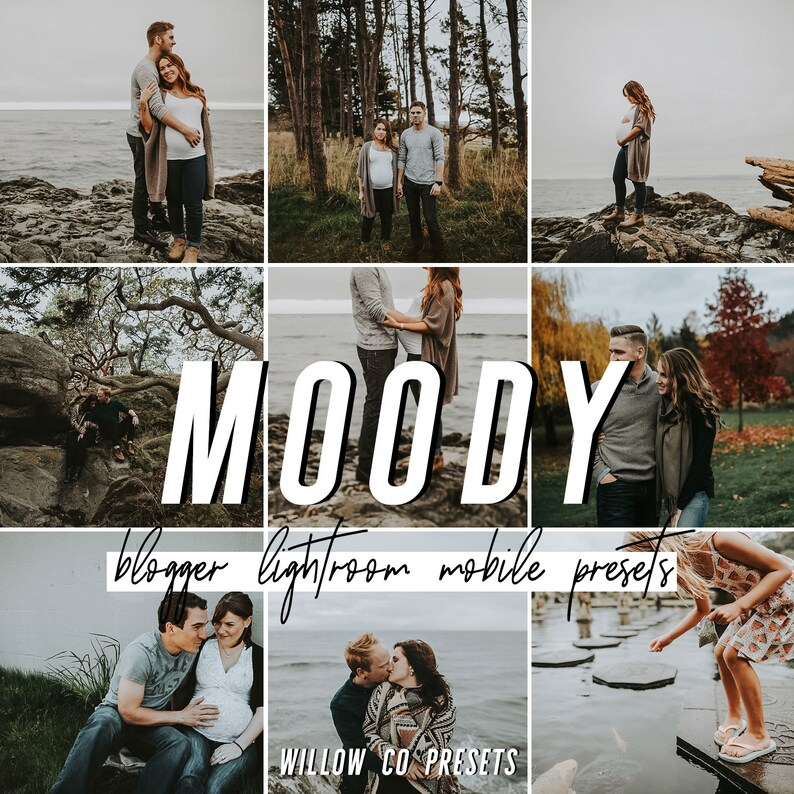 4 Moody Lightroom Presets for the Mobile Lightroom App, DNG Filters for  iPhone and Android Photo Editing