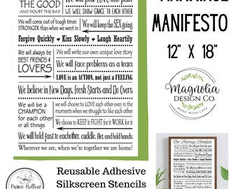 ChalkTalkWithRenee Magnolia Design Marriage Manifesto-Reusable Adhesive 12X18 Silkscreen Stencil