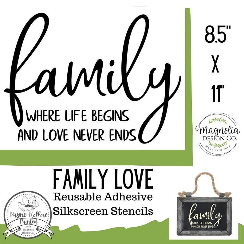 Reusable Silkscreen Stencil Reusable Self Adhesive Stencil FAMILY LOVE by Magnolia Design Co. 8.5 X 11
