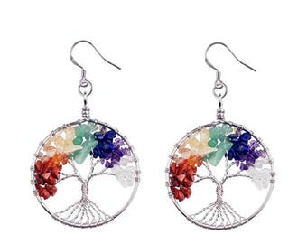 Tree of Life Chakra Earrings
