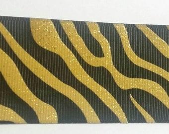 Black and gold zebra animal print grosgrain ribbon  -  1 yard