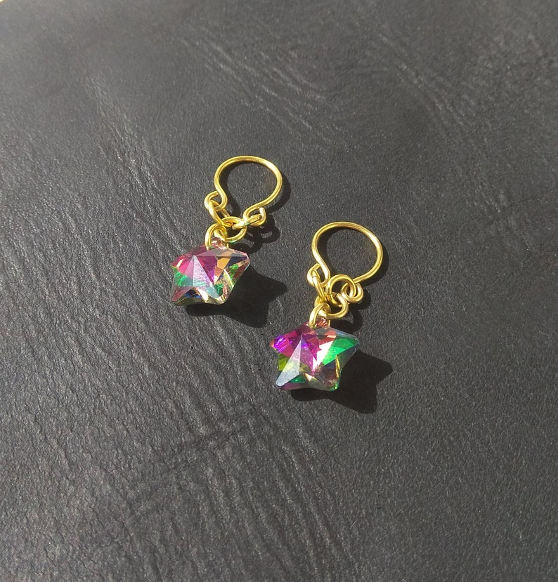 Nipple Rings with glass stars Brass Fake Piercing
