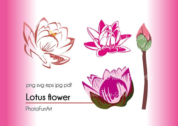 Lotus Flower Clipart Art Vector Graphic File Svg Silhouette Etsy