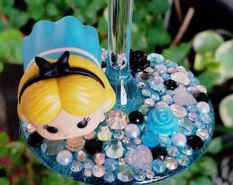 Alice in Wonderland Wine Glass