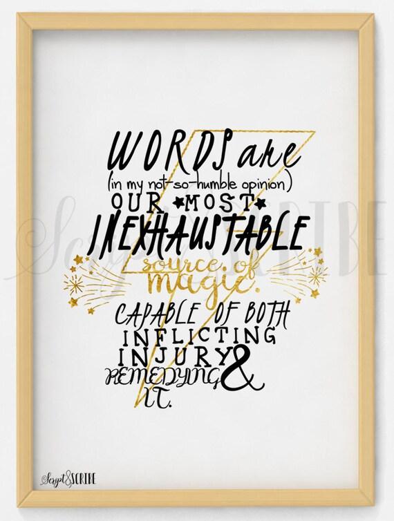 Albus Dumbledore Zitat Gold Harry Potter Digital Download Instant Druck Zu Hause Magie Typografie Geschenk Wand Kunst