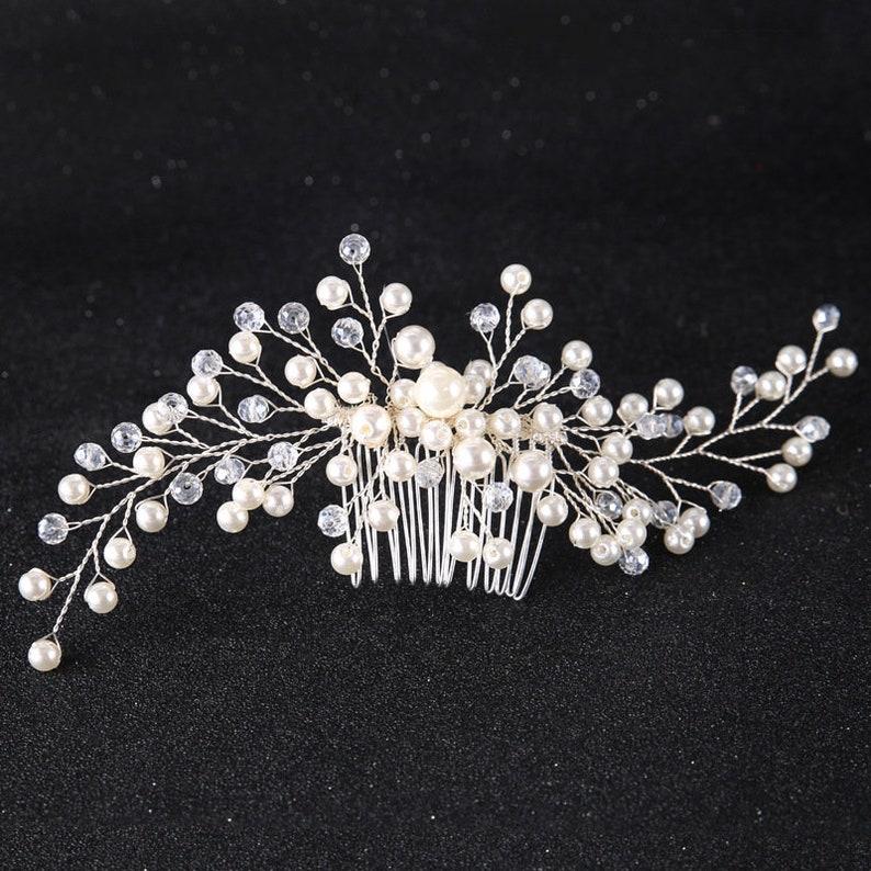 Wedding Hair Accessories Pearls /& Crystals Bridal Accessory Floral Wedding Hair Comb Floral Bridal Hair Clip Pearl Wedding Hair Comb.