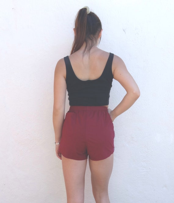brick red athletic shorts // vintage red running s