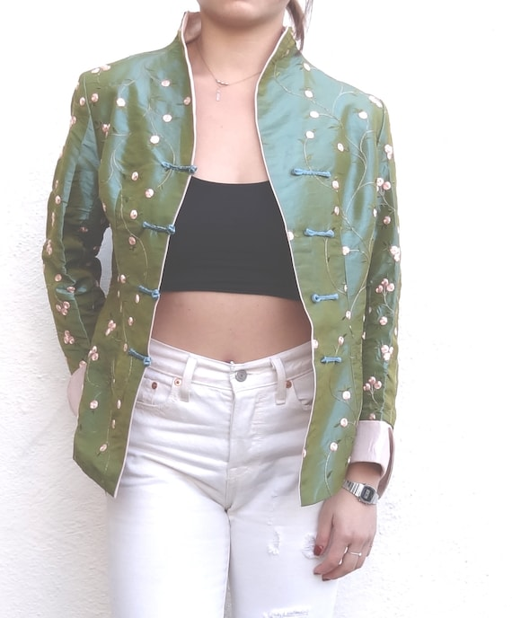 vintage Chinese style silk jacket // turquoise blu