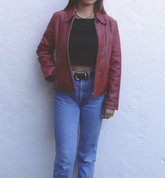 vintage burgundy leather jacket // vintage red lea
