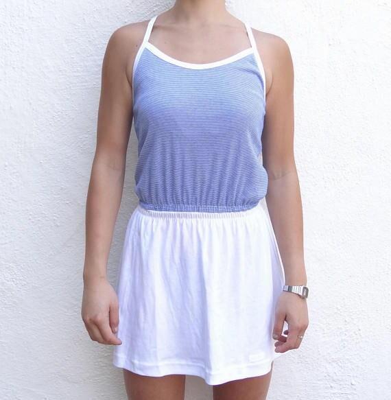 blue and white striped sundress // white skirted s