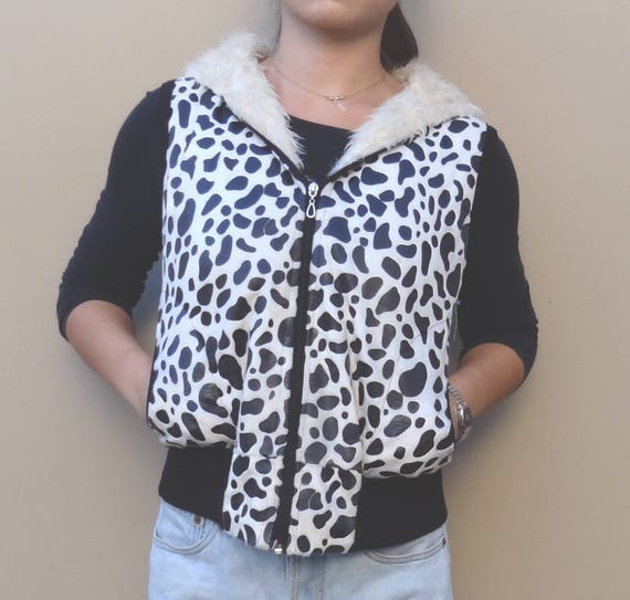 cow-print vest // furry hooded vest // cropped fit
