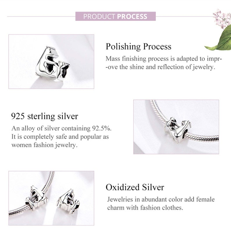 BAMOER 925 Sterling Silver Bracelet Charm-Silver Animal Charms Beads,Polar bear Pendants,Women Fashion Jewelry,Fit Necklace,Chain,SCC1207