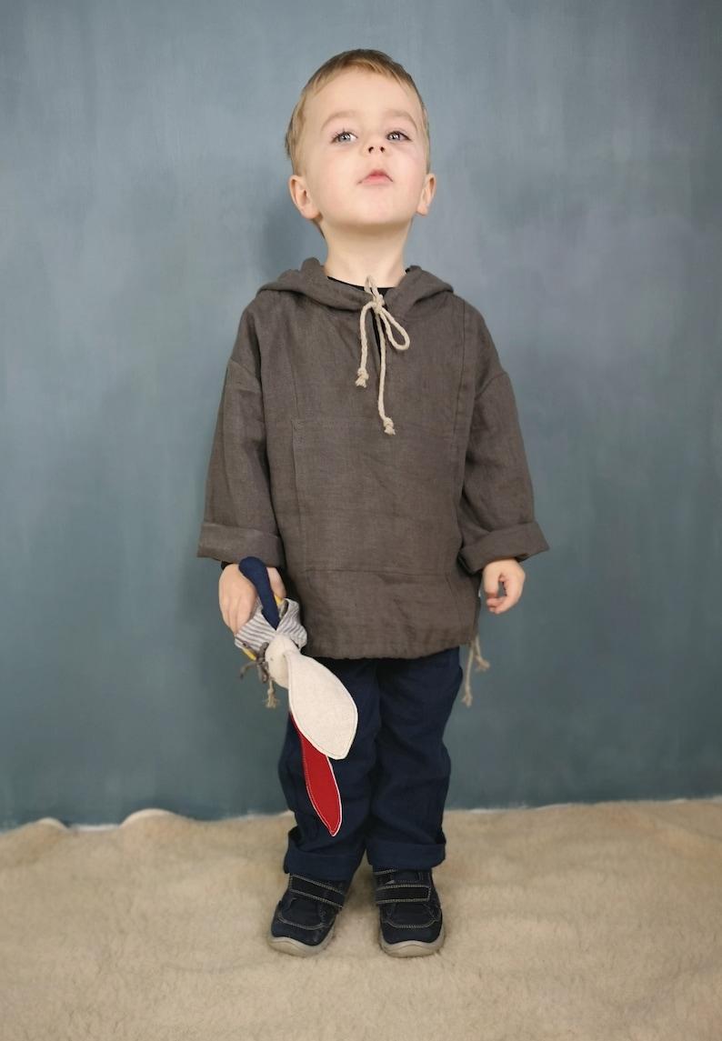 Linen hoodie top kids Hooded linen Linen top with sleeves Linen hooded with pocketsGirl/'s linen topBoy/'s linen topGirls Boys outfit