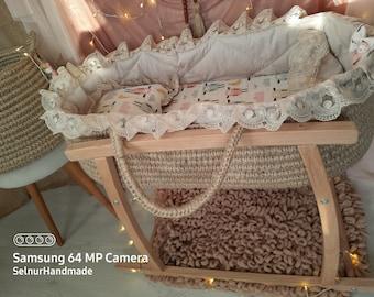 Handmade baby moses basket 0-6m free worldwide shipping