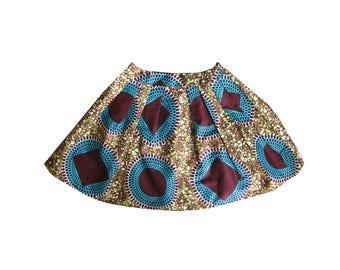 African girls skirt Ankara style in wax print // cute pleat skirt in cotton, gift forl  girl, kitenge