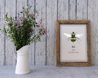 Hand painted watercolour A4 BEE print