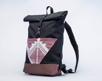 Roll top backpack- black and pink backpack- waterproof backpack- water  repellent backpack- natural leather- gift for her- gift for him-pinky a79941c53