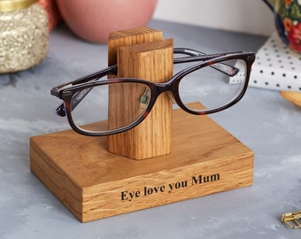 ab5d0ce4bcb Solid Oak Personalised Glasses Stand   Gifts for Mum   Mother s Day Gift    Gifts for Grandma   Reading Glasses Stand   Eye wear Stand