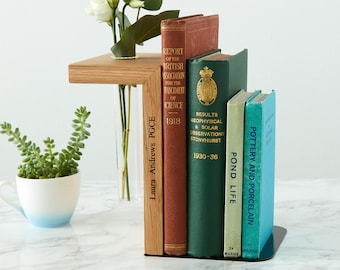 Solid Oak Personalised Bookend / Bookworm Gift / Academic Gift / Book Lover Gift / Graduation Present / Bookends / Reading Gift Book Holder