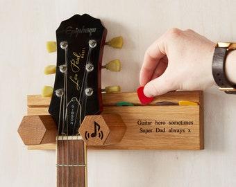 Personalised Guitar and Plectrum Stand / Gift for Music Lovers / Teen Gift / Guitar Hero / Guitar  Wall Hanger / Guitar Display