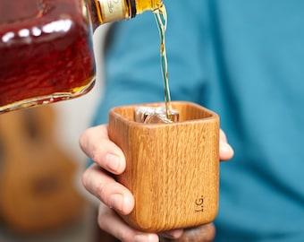 Personalised Oak Whiskey Tumbler / Whisky Glass / Gift For Whiskey Lover / Groomsmen Gifts / Gift for Dad / Custom Whiskey Glass