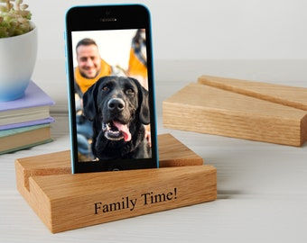 Personalised Oak or Walnut Phone And Tablet Stand / Tech Gifts / Personalised ipad  iphone stand / Docking Station