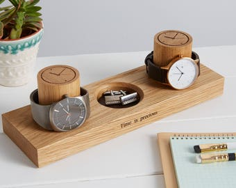 Two Watch and Cufflink Stand / Ring Tray / Personalised Gifts for Dad / Father's Day Gifts